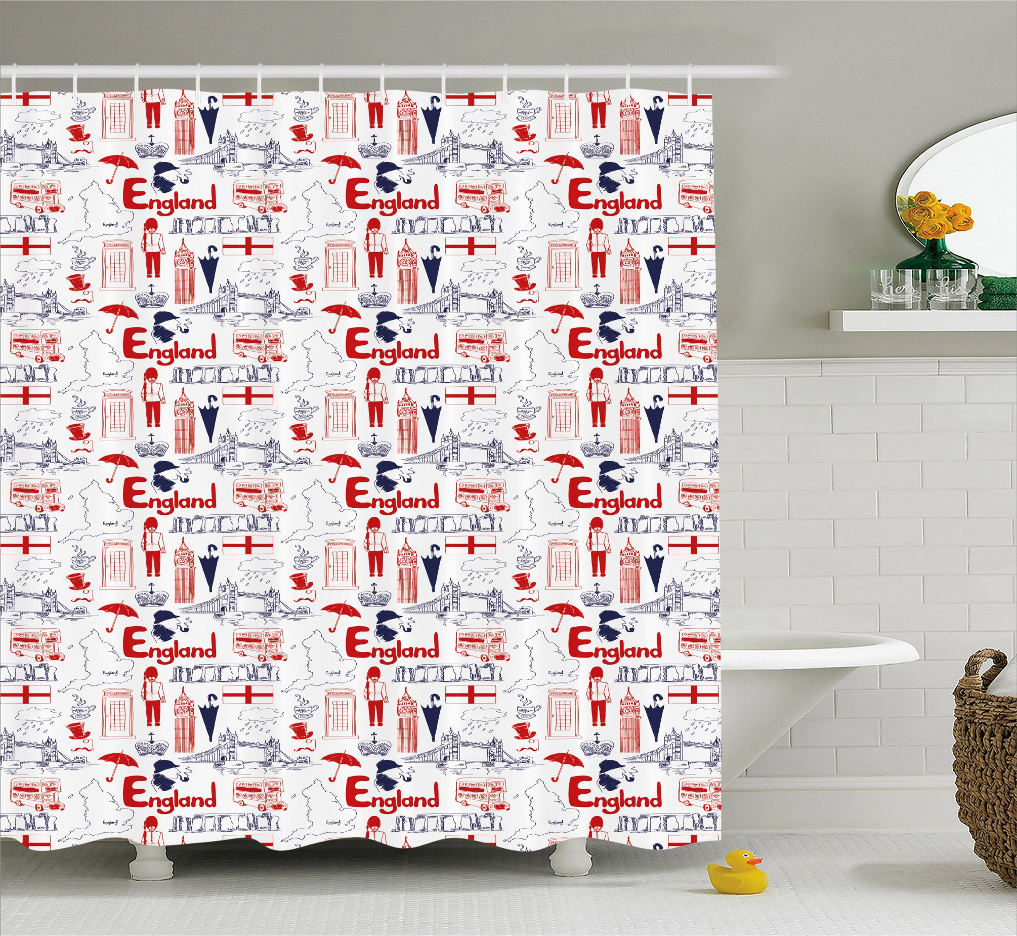 British Culture Sketch Shower Curtain French Country Bathroom Unique Shower Curtain Country Bathroom Designs