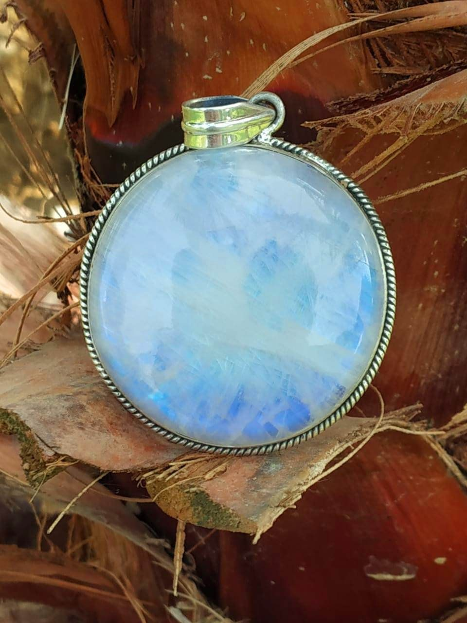 Moonstone Pendant Handmade June Birthstone Pendants 925 Sterling Silver Pendants for Womens Round Gemstone Pendants Bohemian Pendants for Christmas Gift