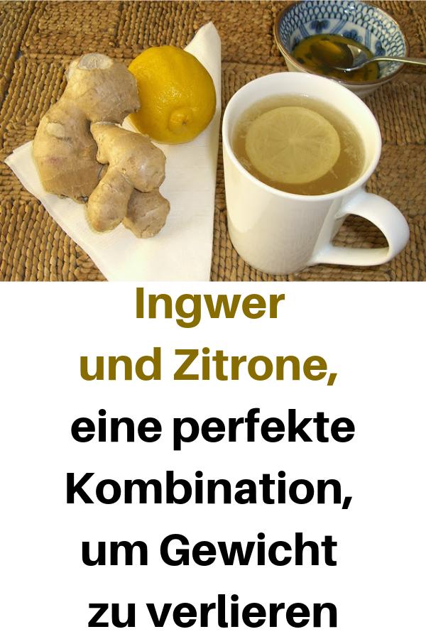 Wasser mit Ingwer und Zitrone, um Gewicht zu verlieren