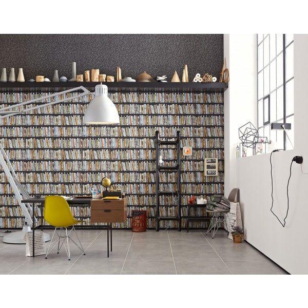 papier peint trompe l 39 oeil biblioth que en couleur papier peint as cr ation papier peint. Black Bedroom Furniture Sets. Home Design Ideas