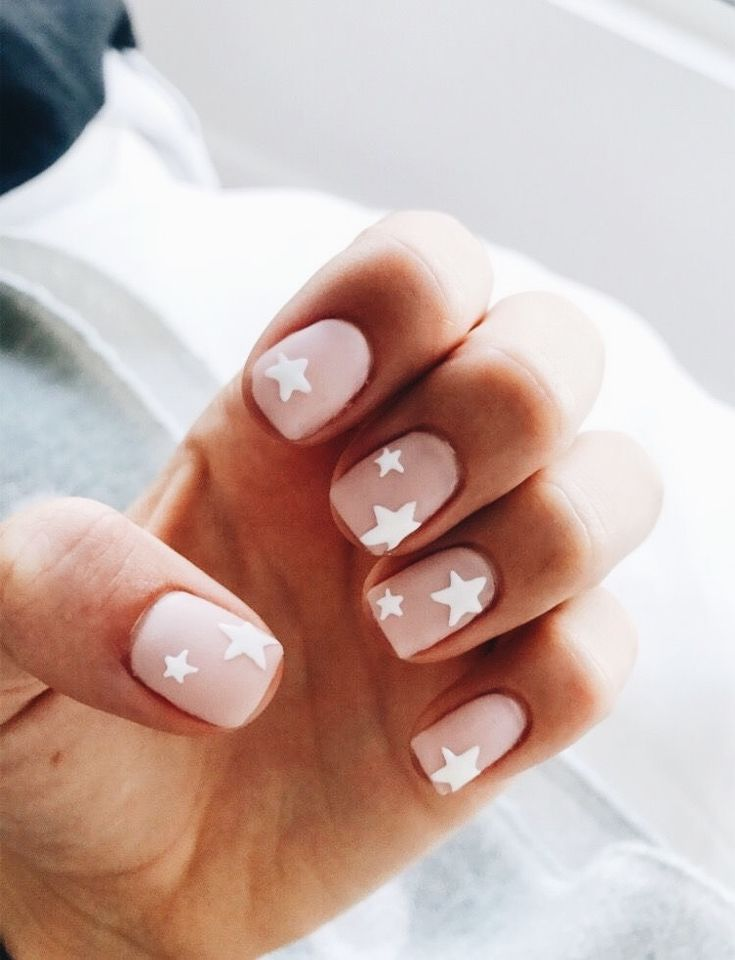 Pink Nails With White Stars Beauty Nailart Nails Star Nails Star Nail Art Pink Nails