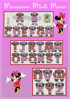 Pontinhos Mágicos: Monogramas Minnie e Mickey.