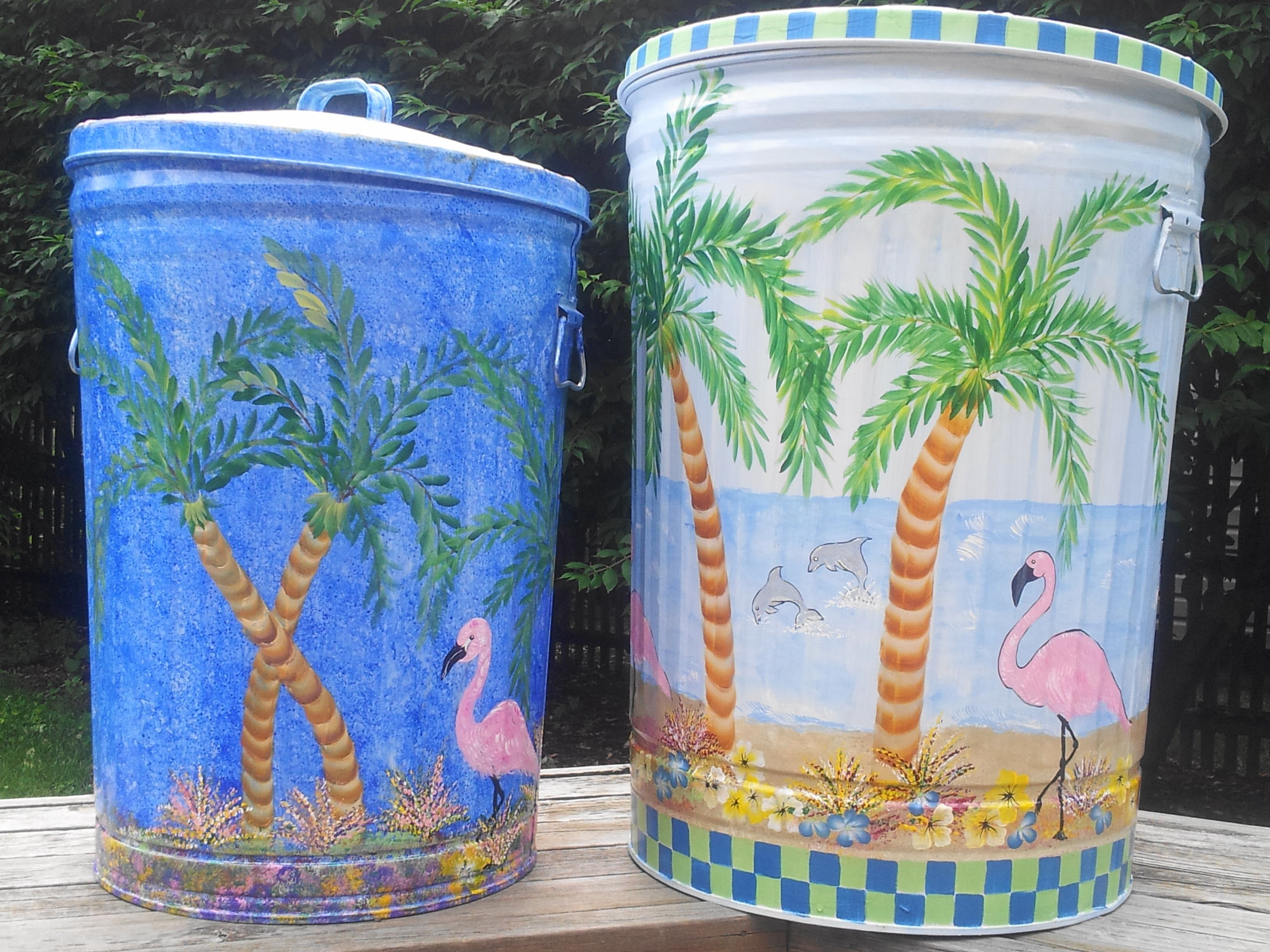 30 gallon u0026 20 gallon hand painted trash cans etsy