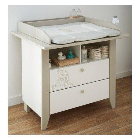 """commode table a langer 85x75cm 2 tiroirs /2 niches """"ourson""""   bébé"""