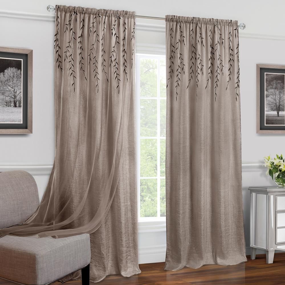 Achim Willow Toffee Polyester Rod Pocket Curtain 42 In W X 84