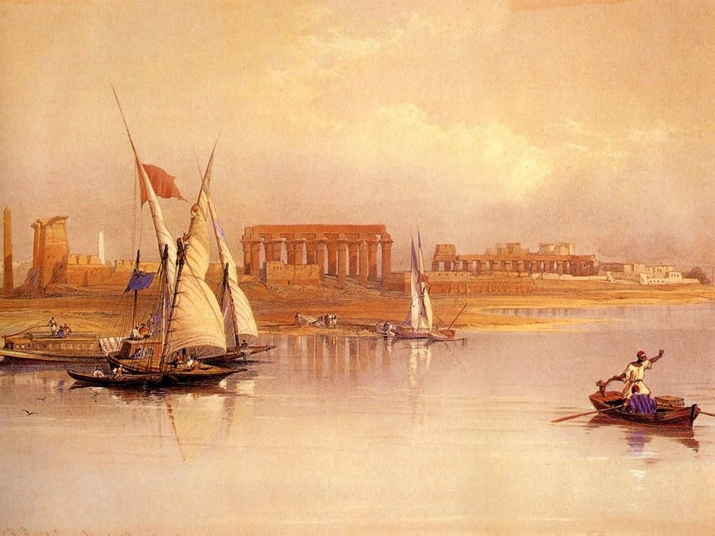Oil paintings from david roberts ancient egyptian oil for Ancient egyptian mural paintings