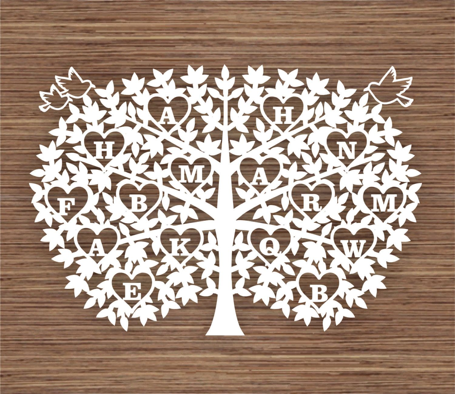 Big Leaf Family Tree For 16 Sixteen Family Members Pdf Svg