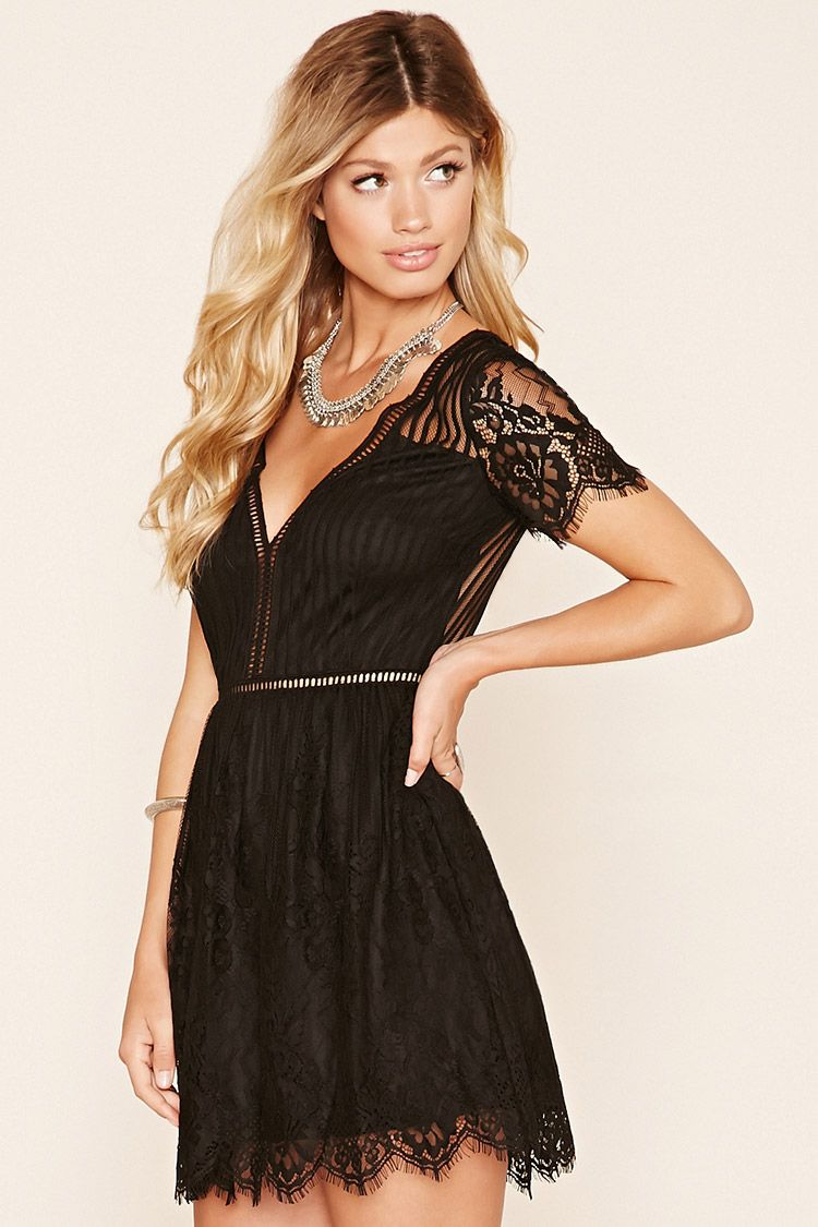 A Floral Lace Mini Dress Featuring A Striped Pattern A Sheer Back And Sheer Shoulders A Deep V Neckline Ladde Lace Cutout Dress Sheer Lace Dress Lace Cutout