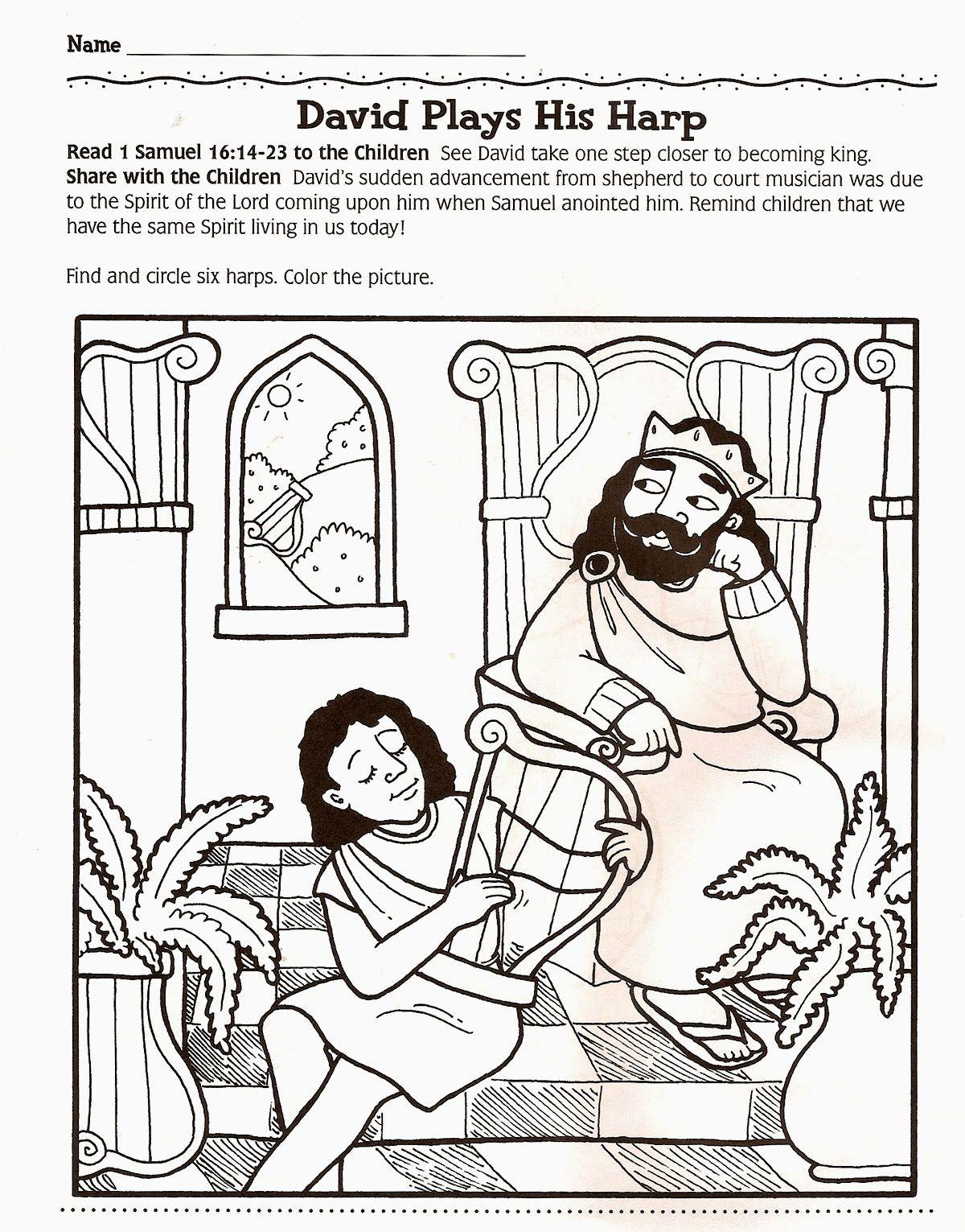 King David Playing The Harp Coloring Page Free Printable