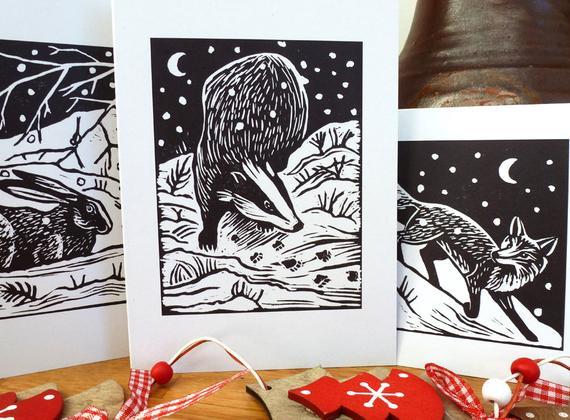 X6 animal Christmas cards: 3 lino print  in 2020   Print