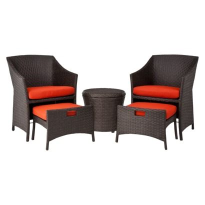 Good Built In Footstool ~ Target Home™ Loft Wicker Patio Conversation Furniture  Set   Red.
