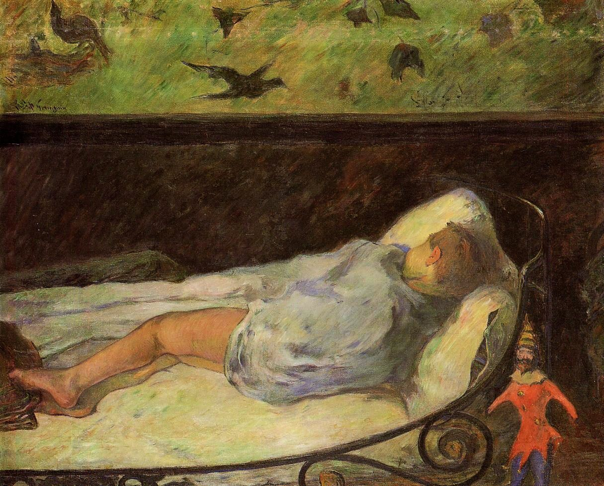 urgetocreate:   Paul Gauguin - Young Girl Dreaming (Study of a Child Asleep) - 1881