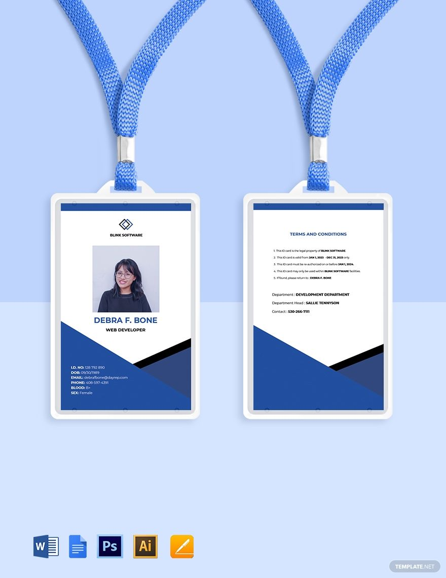 Free Sample Software Company Id Card Template Word Doc Psd Apple Mac Pages Google Docs Illustrator Id Card Template Company Id Card Template