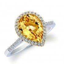 14k White Gold Yellow Citrine and Diamond Ring
