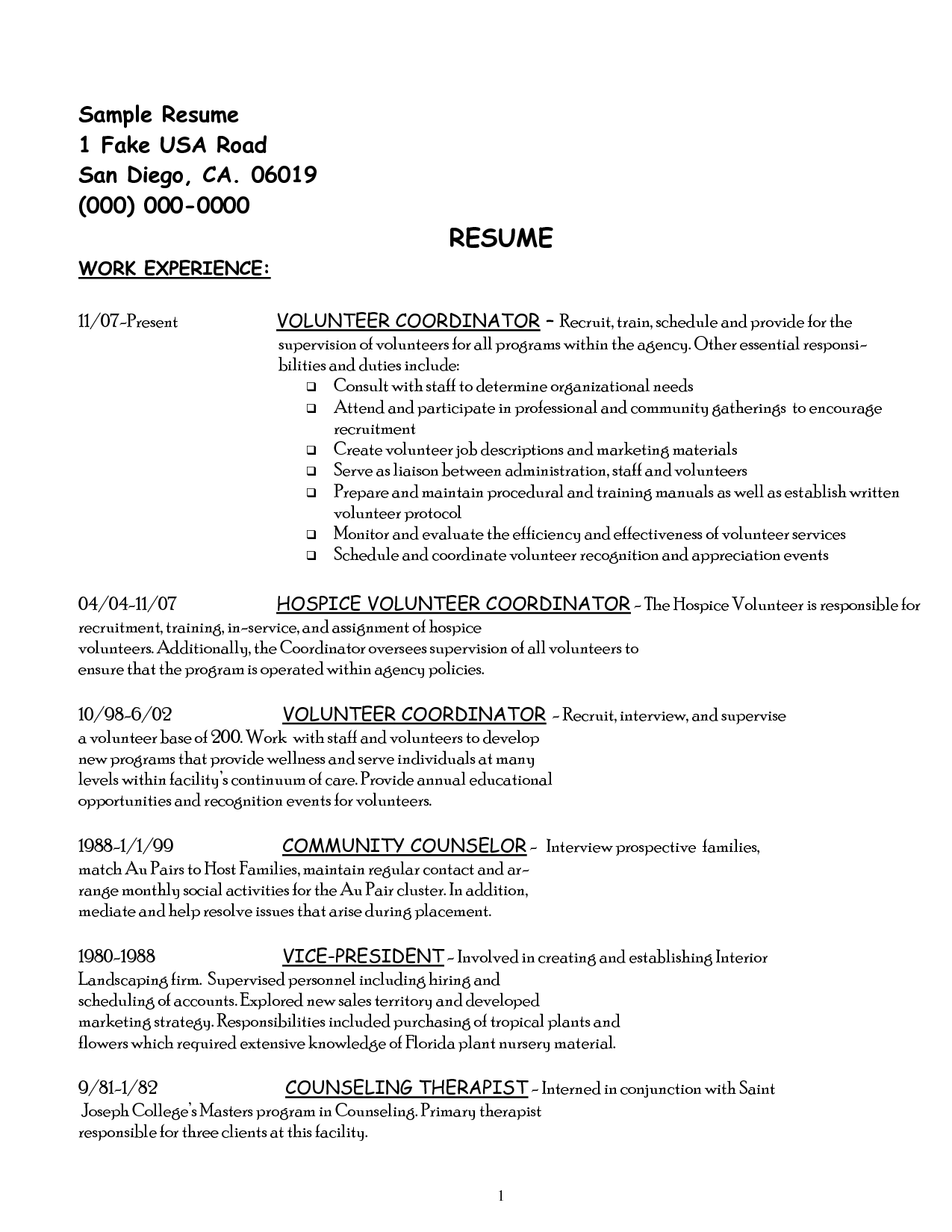 Resume Examples Volunteer Work Resume Sample