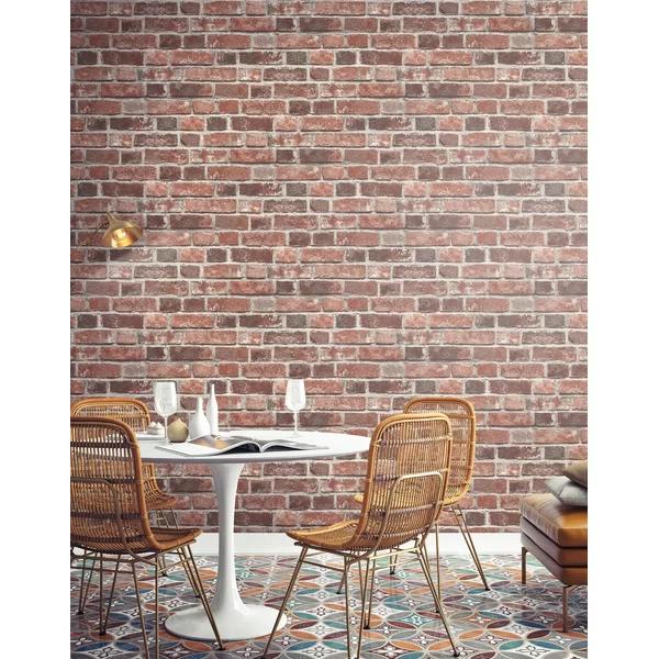 Bryanna Distressed 18 L X 20 5 W Peel And Stick Wallpaper Roll In 2021 Brick Wallpaper Peel And Stick Red Brick Wallpaper Peel And Stick Wallpaper