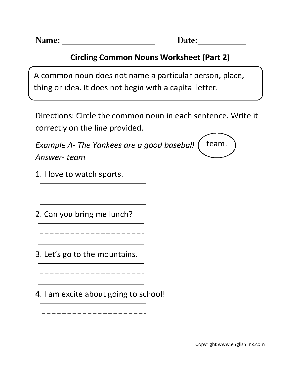 Circling Common Nouns Worksheet Part 2
