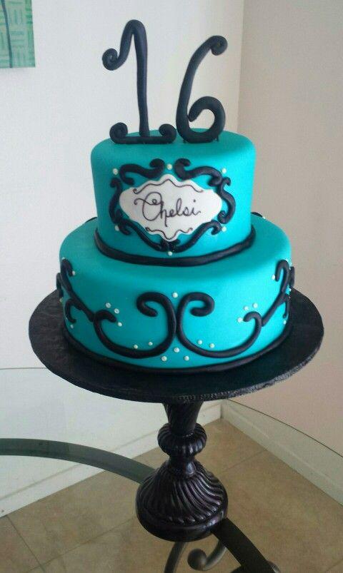 Black and teal sweet 16 cake
