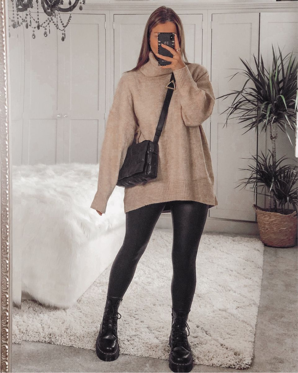 Camel overszied knitted jumper / sweater , leather look leggings and chunky black doc marten boots