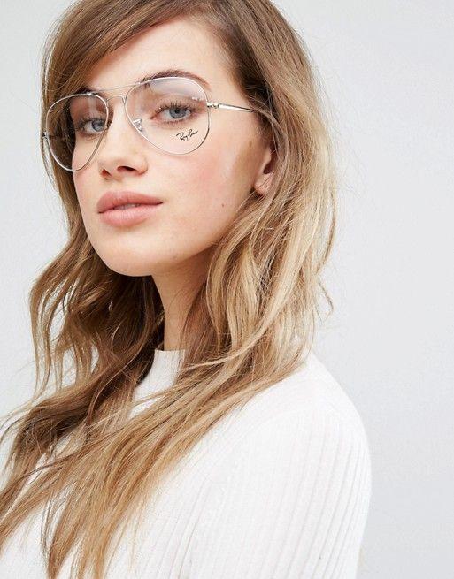 Gafas ópticas con montura estilo aviador en plateado y lentes de ... 7f70b1316a57