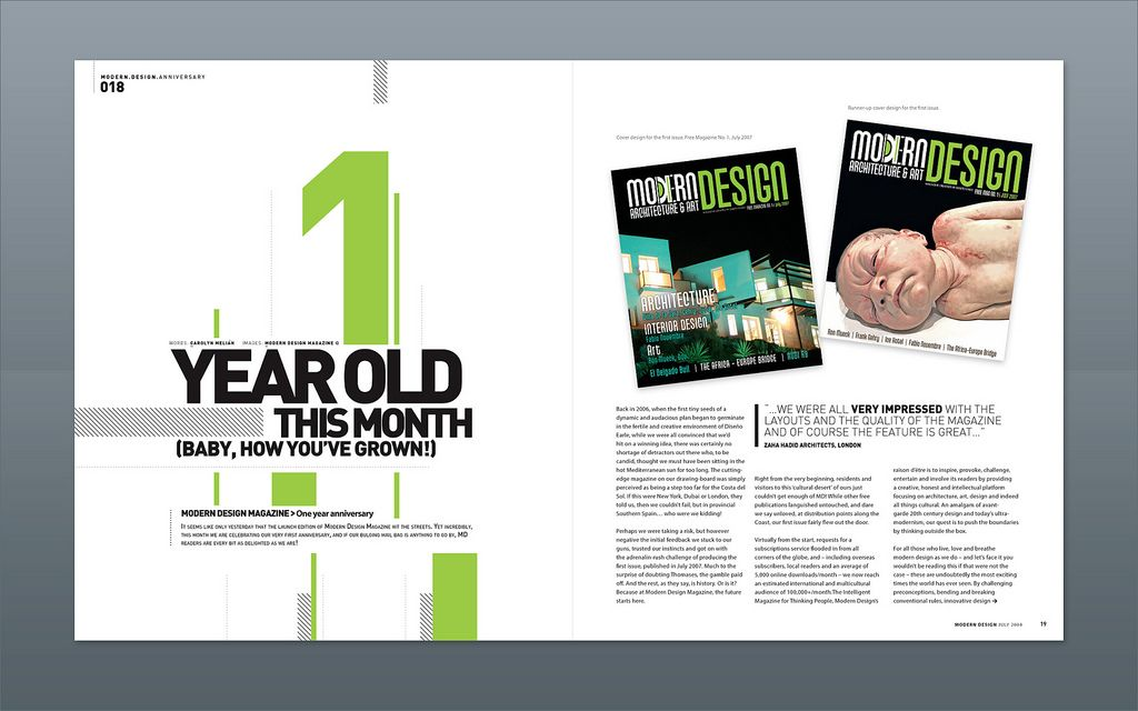 Modern design magazine 1 year anniversary malaga for Designs magazine