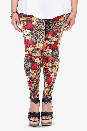 dce09667e38 Torrid Plus Size Leopard Rose Print Leggings