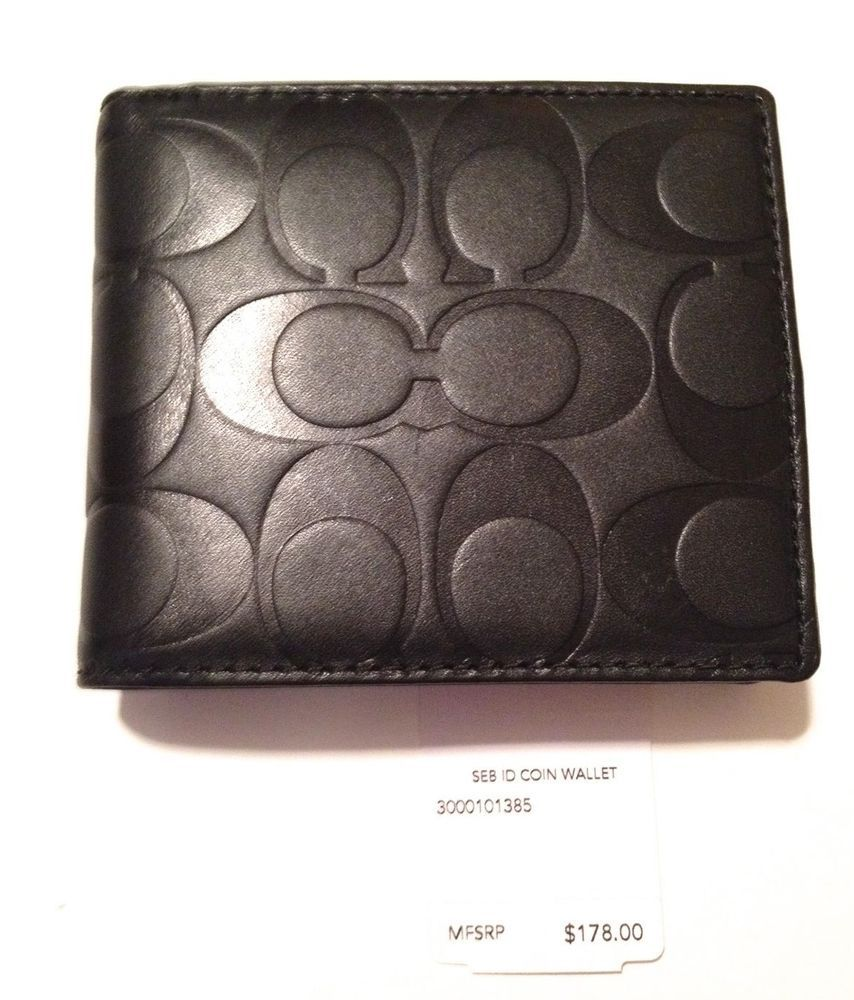 fd01e917f6bcf ... promo code 178 now 104.99 coach mens signature embossed logo id coin  wallet black new 74904