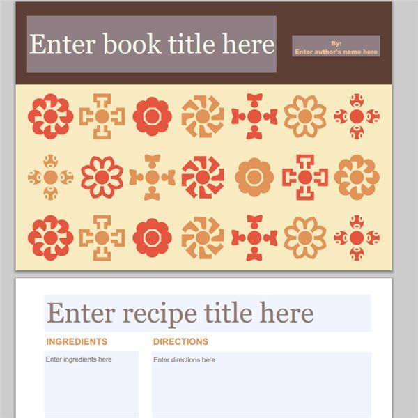 Snapfish Folk Flowers Cookbook Printable Family recipes - free book template for word