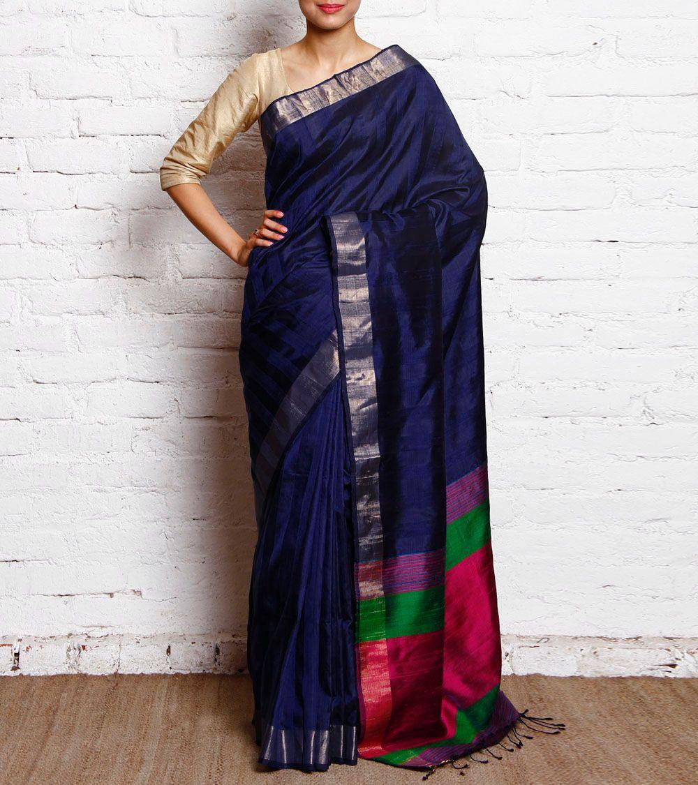 Royal Blue With Pink Pure Silk Handloom Saree  Creatives