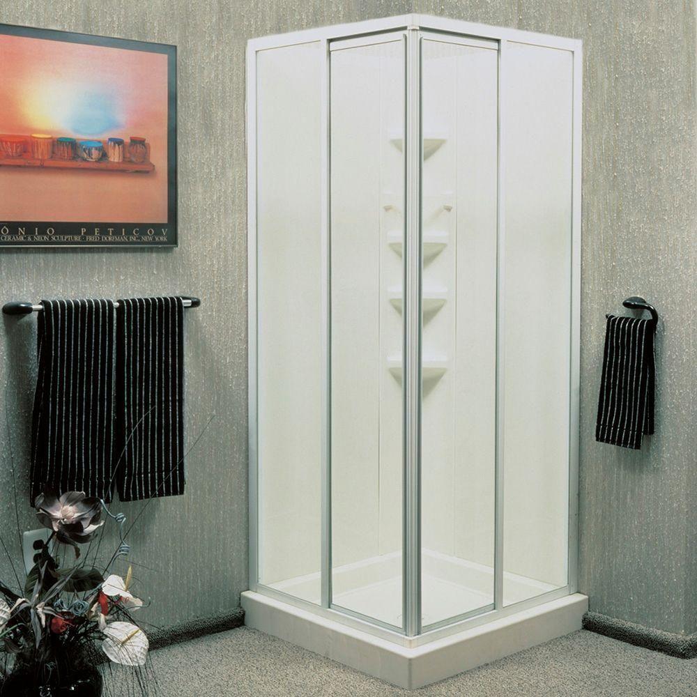 ASB 32 in. x 32 in. x 70-3/4 in. Standard Fit Corner Shower Kit ...