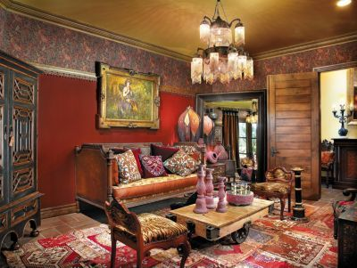 Red Mediterranean Living Room   Eclectic > Living Rooms   LUXE Source