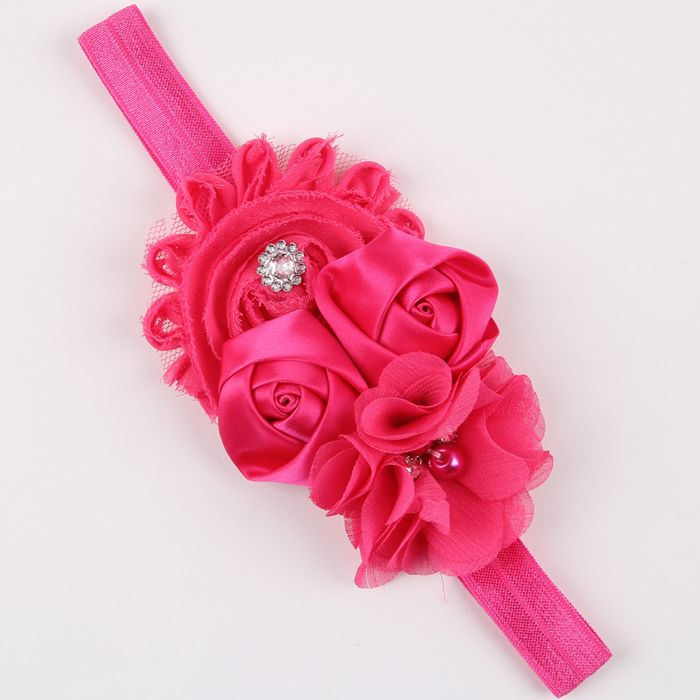 $1.65 (Buy here: http://appdeal.ru/7rve ) New Cute Infant Babies pink Chiffon Lace flower headband Kid Flower Dress Up hairbands baby girl hair accessories  w--052 for just $1.65