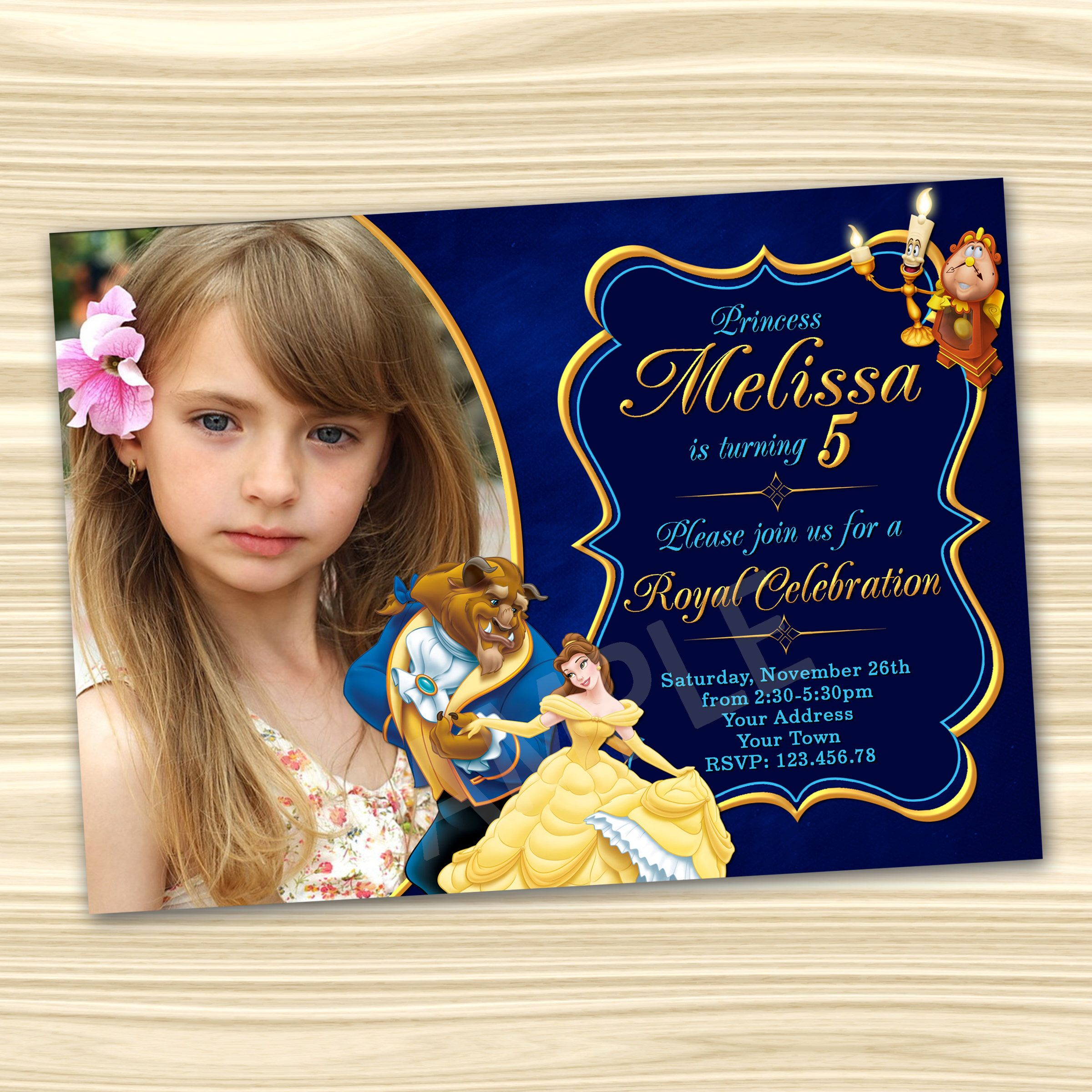 Beauty and the Beast Invitations. Princess Belle