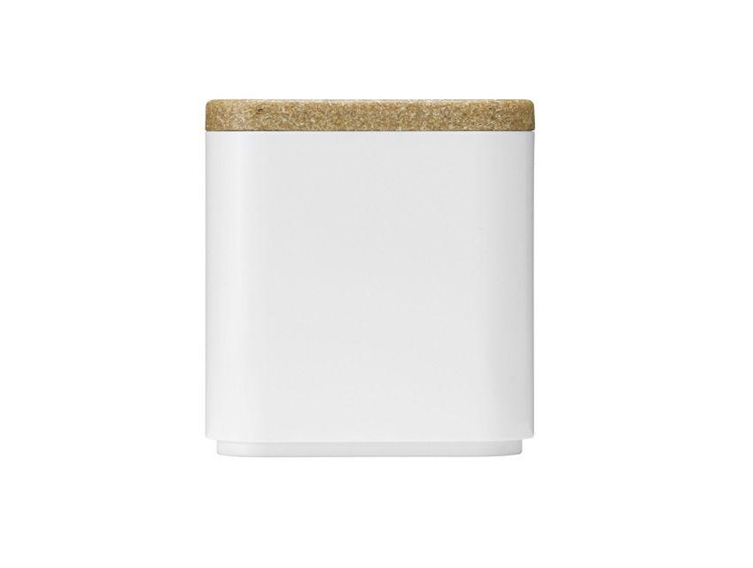 Container, ceramic, plastic, white, cork