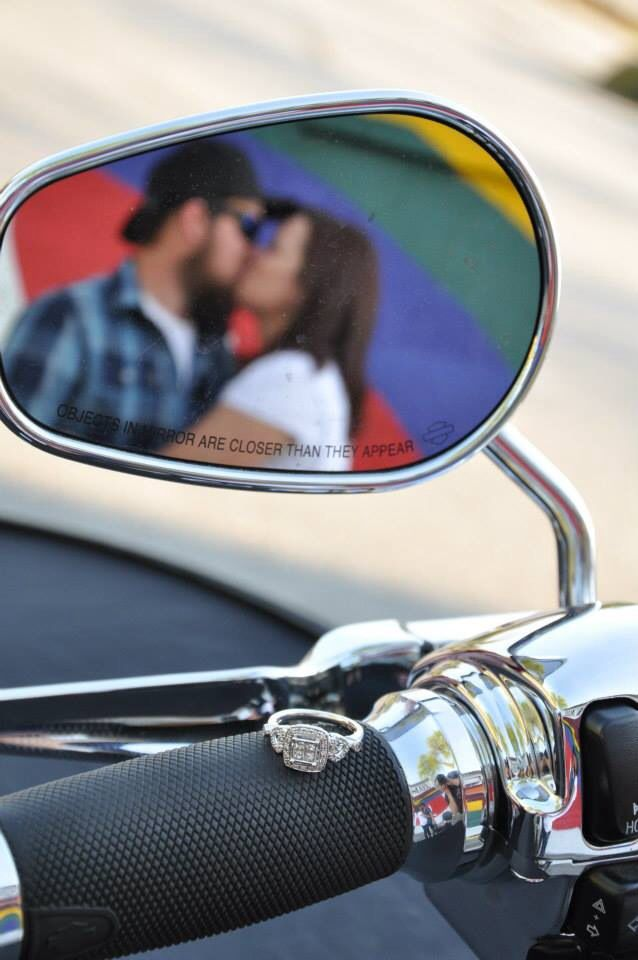 Engagement Ring Pictures With A Harley Davidson Motorcycle Engagement Ring Harleydavidson Motorcycle Wedding Motorcycle Engagement Photos Motorcycle Couple