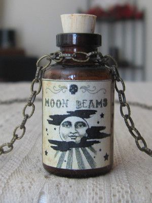 Moon Beams Potion Bottle Poison Necklace Pendant Apothecary Vial