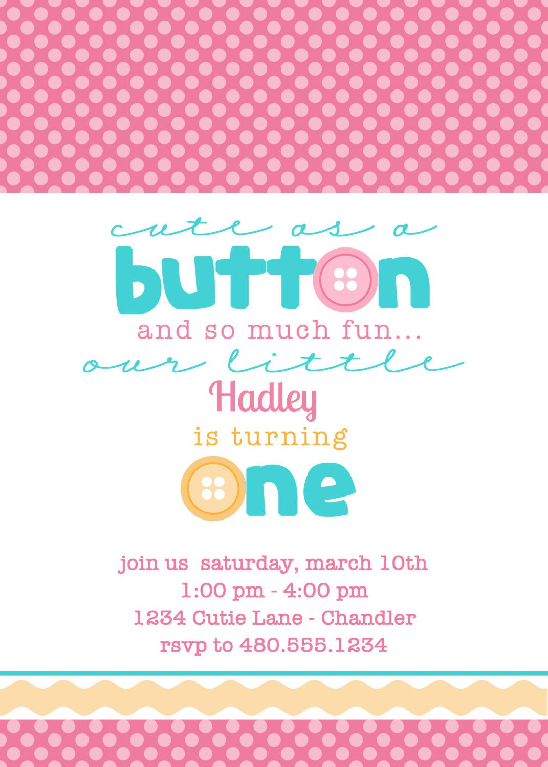 cute as a button birthday or baby shower printable party invite petite party studio
