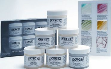Containing six 60ml tubs: Soft Gel Gloss Regular Gel Semi-Gloss Extra Heavy Gel Matte Light Moulding Paste Coarse Pumice Gel Clear Tar Gel  Included is a useful example chart of each and a leaflet describing their uses