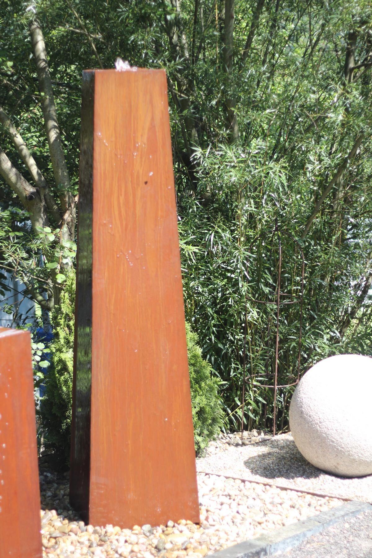 Wasserspiel Brunnen Cortenstahl Konus Saule Rost Edelrost Wasser Im Garten Ausstellung Brunnenschmiede De Edelrost Cortenstahl Gartenbrunnen