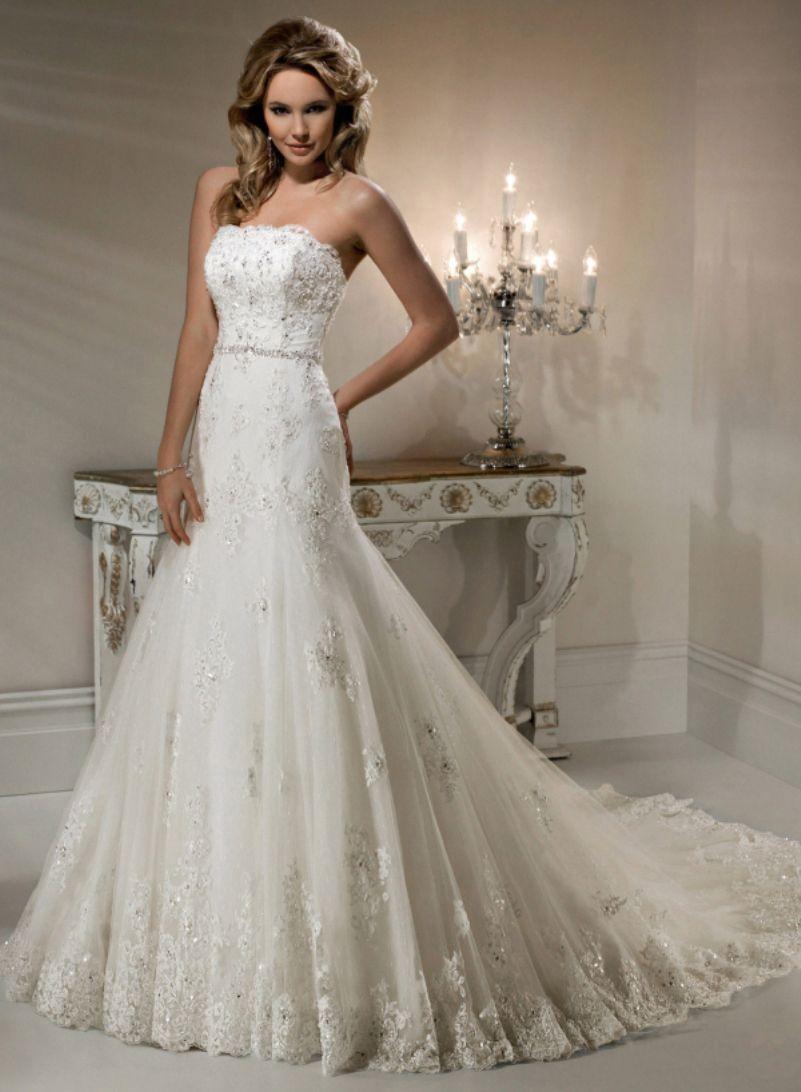 Elegant mermaid wedding dresses  Hot New Elegant Mermaid Bridal Gowns Beaded Strapless Appliqued Lace