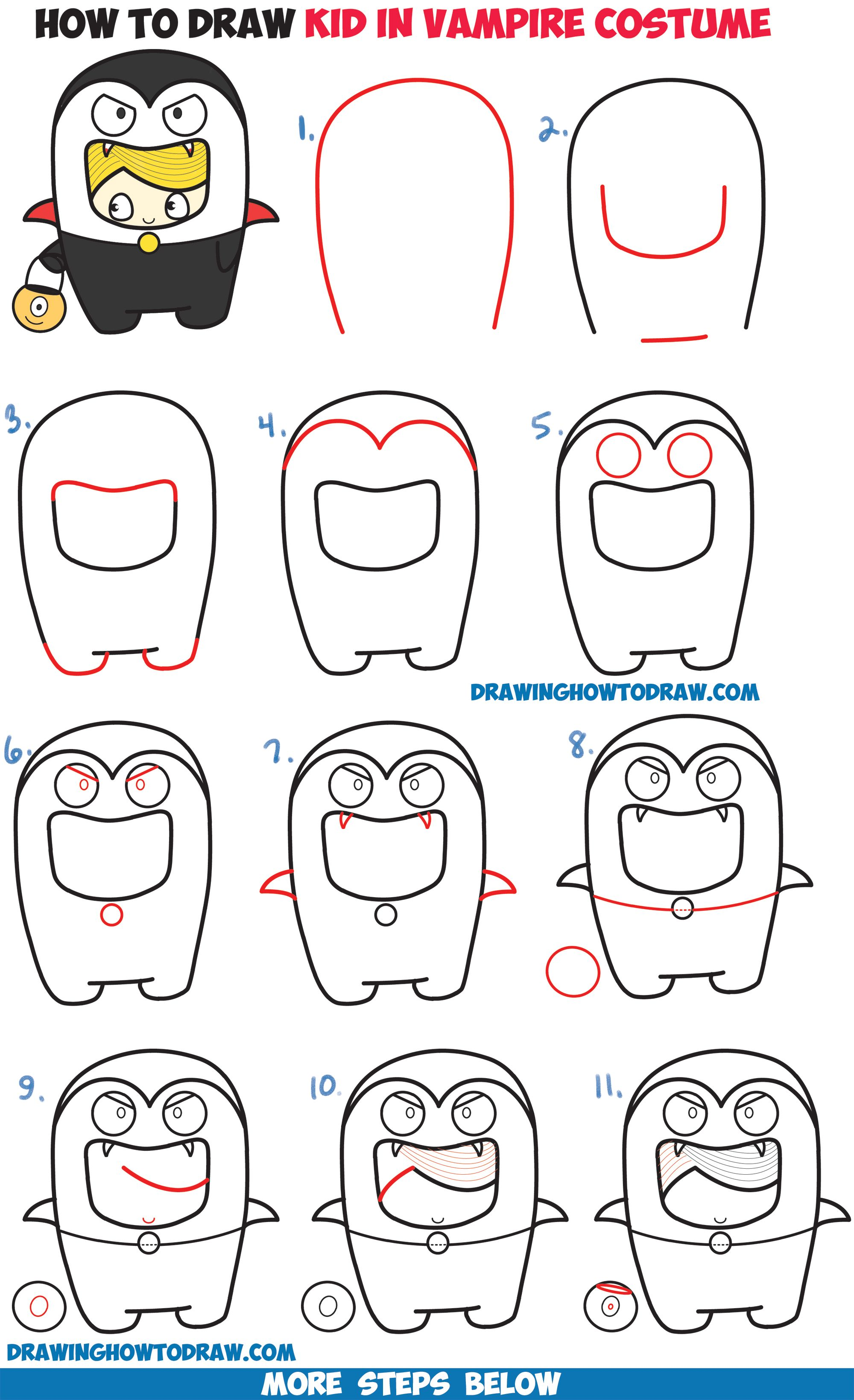 How To Draw A Kid In A Halloween Vampire Costume Cute Kawaii