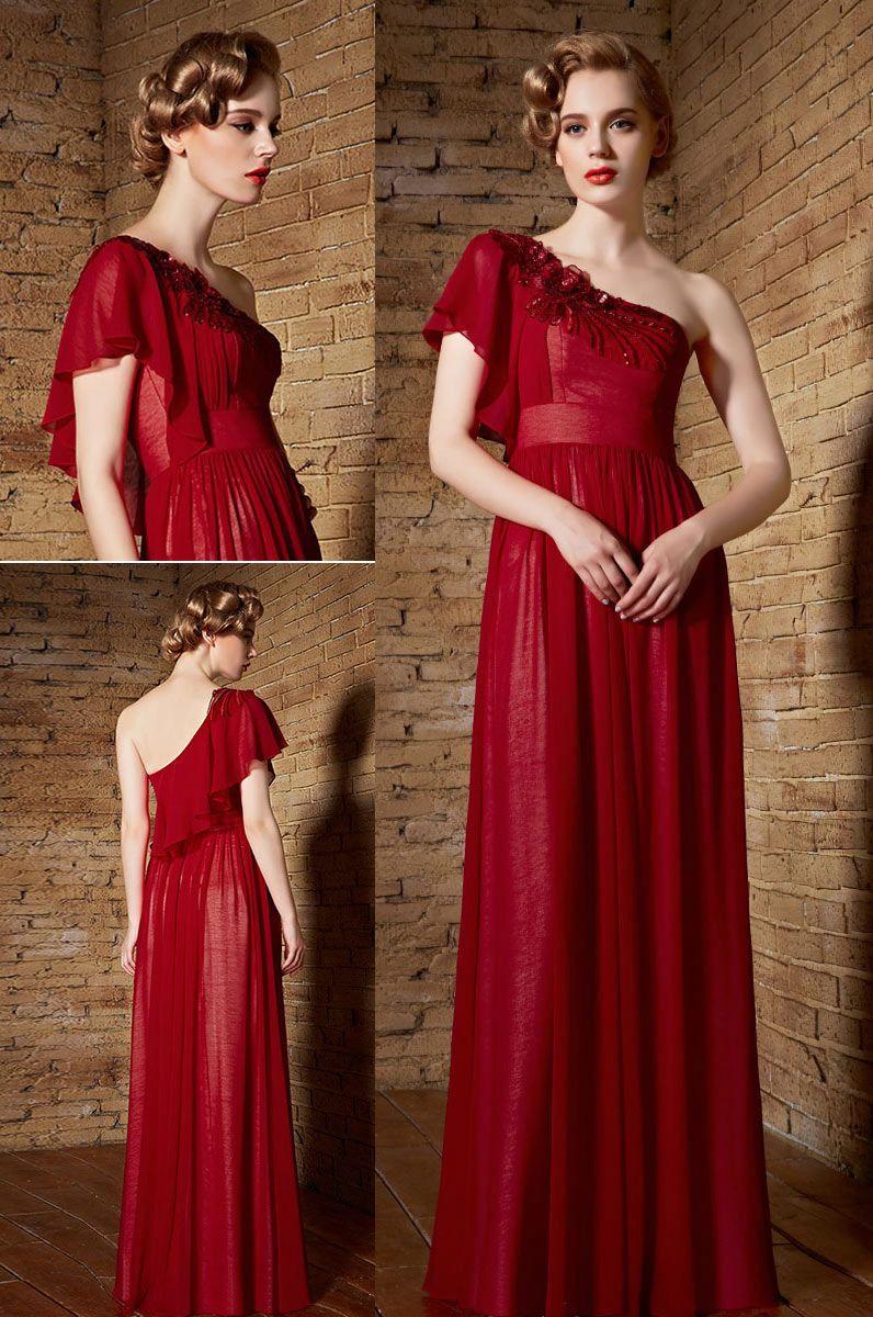 Elegantes Rotes Ein Schulter A Linie Langes Sequins ...