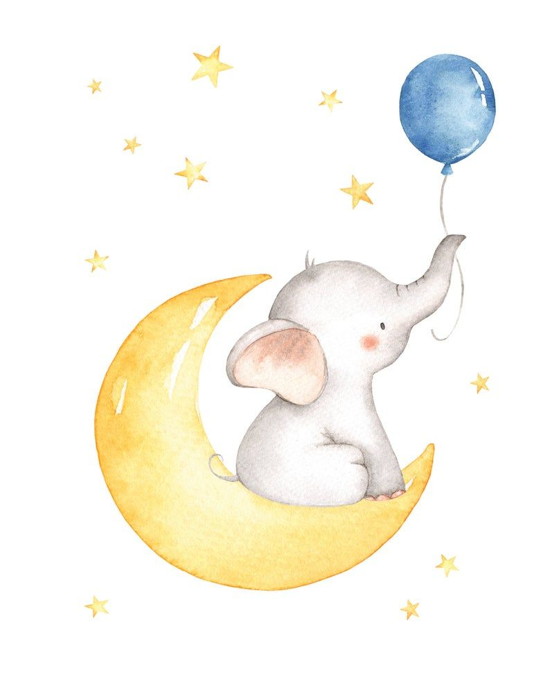 Elephant Wall Art, Baby Boy Nursery Wall Art, Boy Nursery Decor, Moon and Star, Elephant Baby Shower, Elephant Nursery Boy, Instant Download