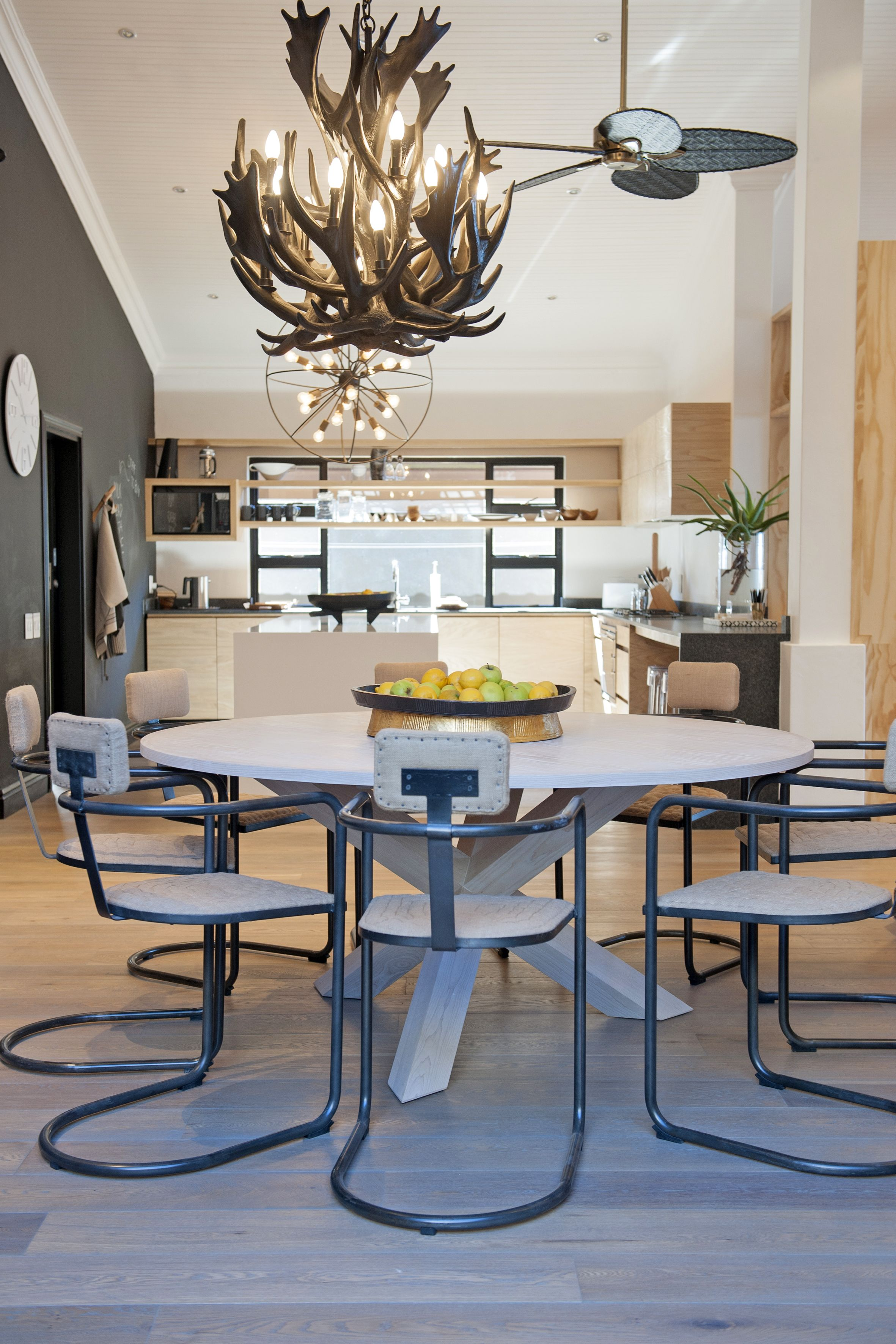 Michele Throssell Interiors Dining Room Antler Chandelier