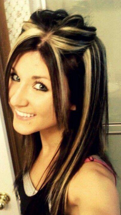 Chunky Platinum Highlights In Dark Brown Hair Hair