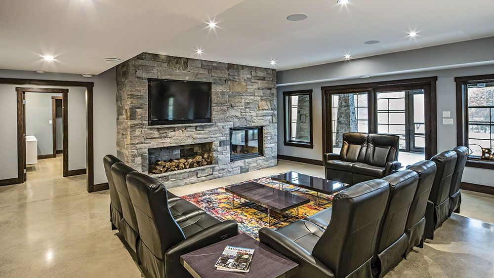 Cozy Modern Fireplace In A Timber Home Would Be Perfect In A