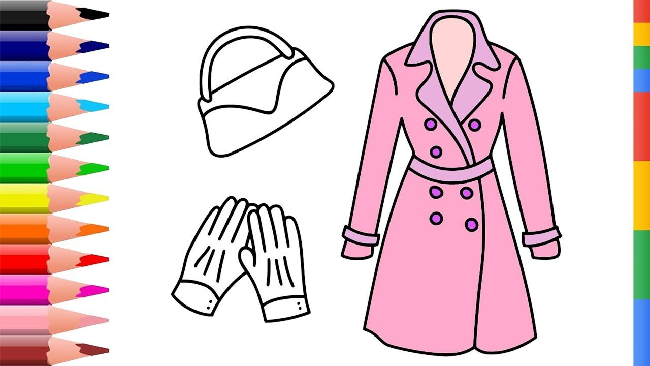 Draw Accessories Coloring Pages for Girl | Coloring Hand Bag, Gloves ...
