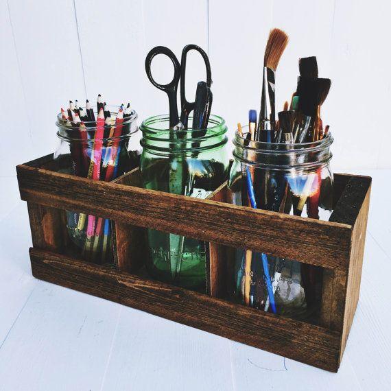 Mason Jar DESK ORGANIZER Pencil Or Paintbrush Holder Office Organization