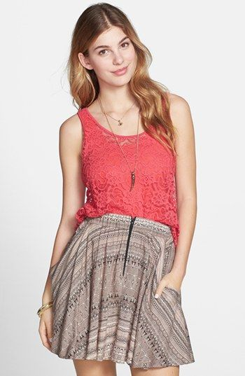Frenchi® Sheer Lace Tank | Nordstrom