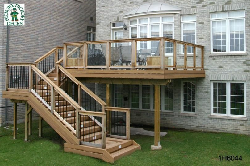 Deck Plan For A Medium Size, High, Single Level Deck With Stairs Coming  Down To The Ground.